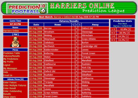 The Harriers Online Prediction League